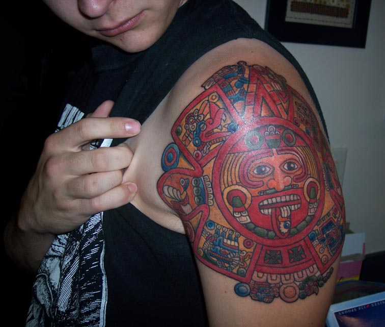 Aztec and Mayan tattoo designs are popular with those of Aztec or Mayan