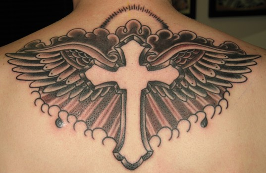 wings cross tattoo