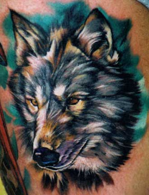 wolf head tattoo. Beautiful artsy wolf head