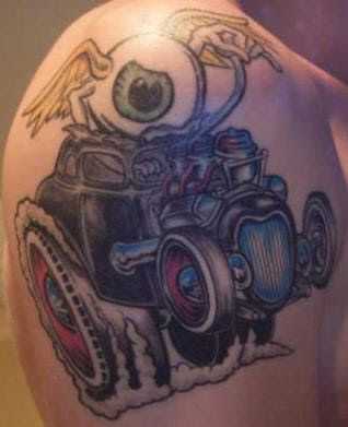 Well have a quick look through these pictures of various cool car tattoos.