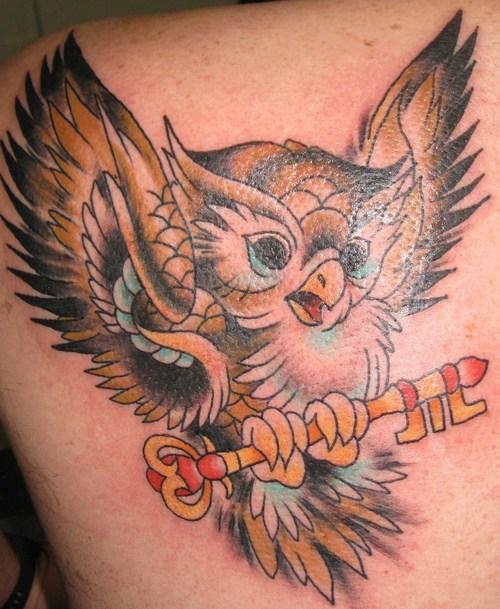 traditional owl tattoo. Cartoon Owl Tattoos