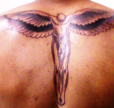 Christopher's angel wings backpiece tattoo (San Francisco)