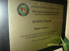 Placa del quinto lugar Nacional de Camargo Chih. 2009.