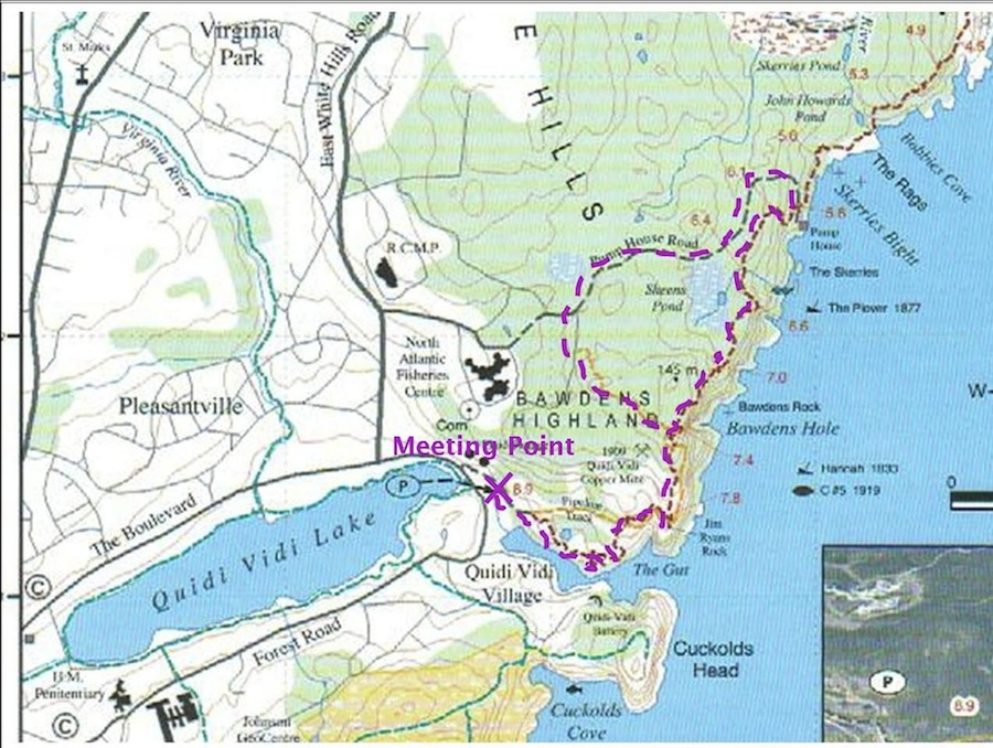 Meet at the Quidi Vidi trail head as shown on the map for a 6:30pm start.