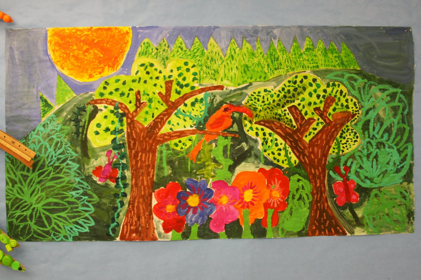 Briargrove elementary art page 4th grade tropical for Birds of paradise mural