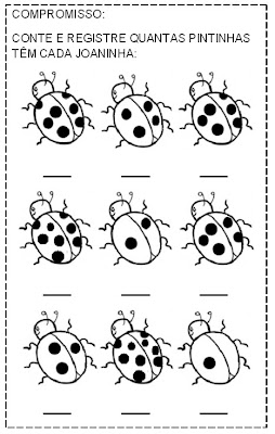 pintar+joaninhas ATIVIDADES NÚMEROS 1 A 9 para crianças