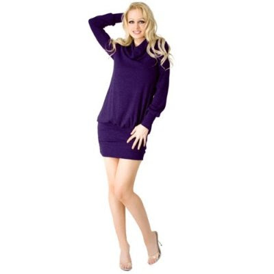 Sexy designer cowl neck sweater dress with fashionable long sleeve from hot ...