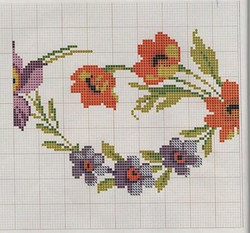 Punto de Cruz GRATIS: Mantel de flores multicolor.