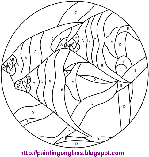 Free Stained Glass Pattern:TropicalFish