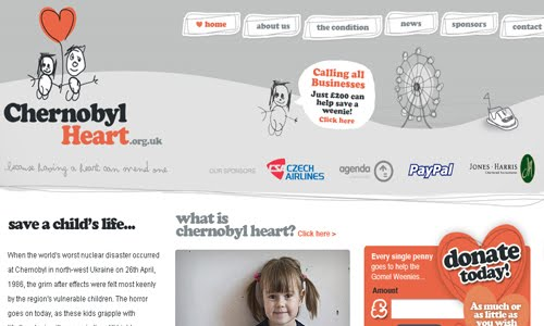 Chernobyl children`s charity kid website design