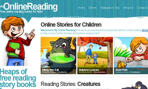 Online Reading kid website design