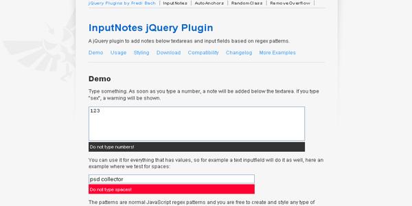 InputNotes jQuery Plugin