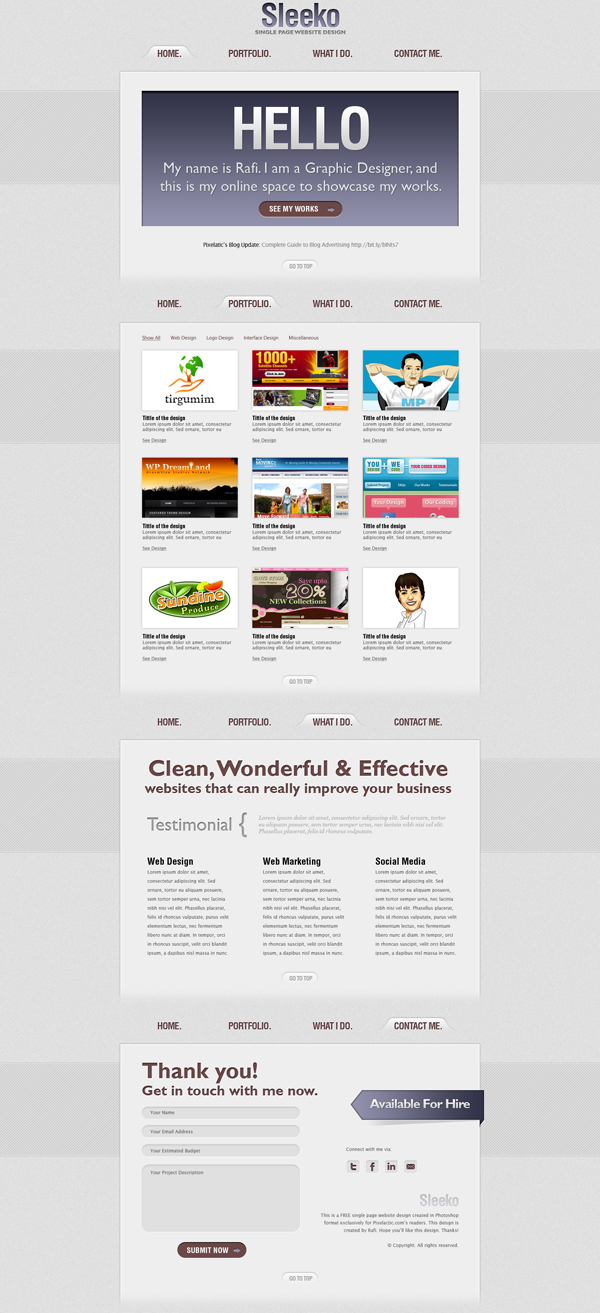 Great Web Gallerise Template PSD