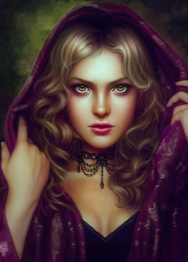 Beautiful digital painting portrait of women seen on www