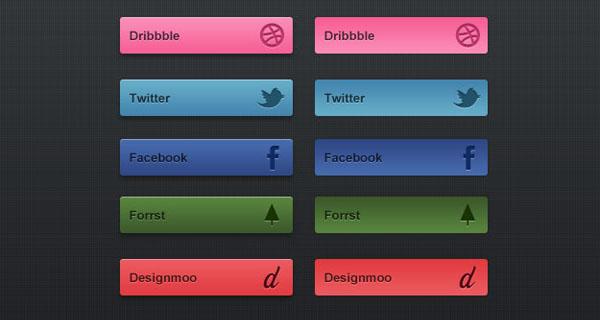 Grunge Social PSD buttons