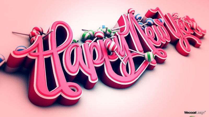 Happy New Year Typography Digital Art Photography