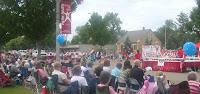 Polish-American kids folk-dancing behind their