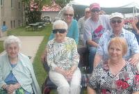 At the parade: Mom, Aunt Phyllis, Susan, Jim, David, and me