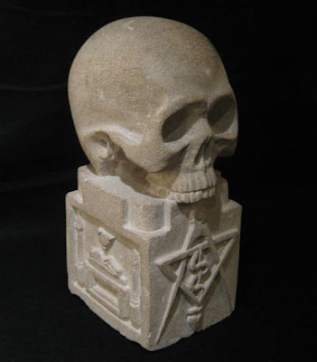 Early 20th Century Masonic Stone Carving of a Skull- Anonymous Works
