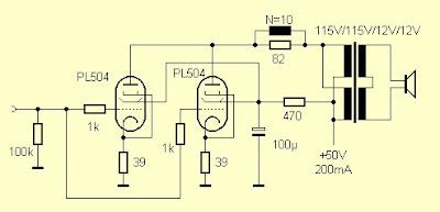 Tube amplifier PL504 - EL504 5 watt
