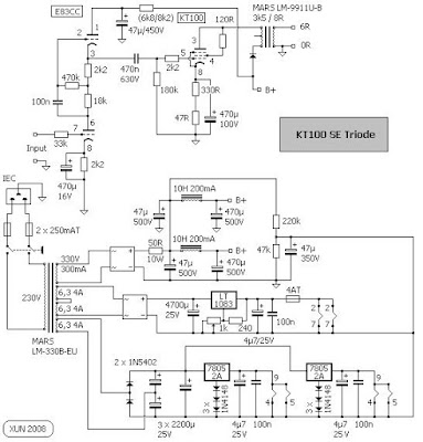 KT100 SE + ECC83 power amplifier