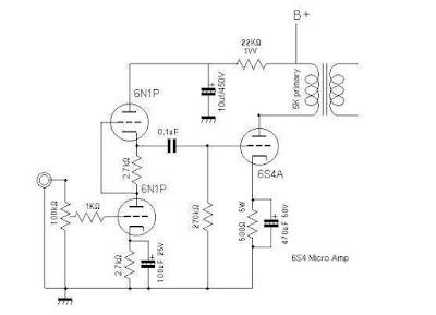 Tube 6S4A + 6N1P 5WATT HI - FI Power Amplifier