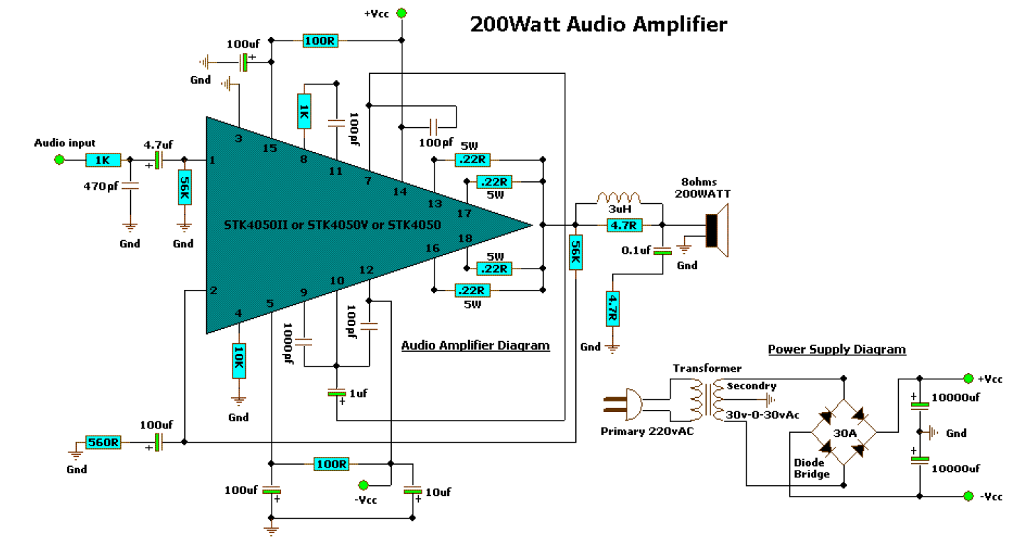 200 Watt Audio Amplifier Circuit Diagrams - Car Fuse Box Wiring ...