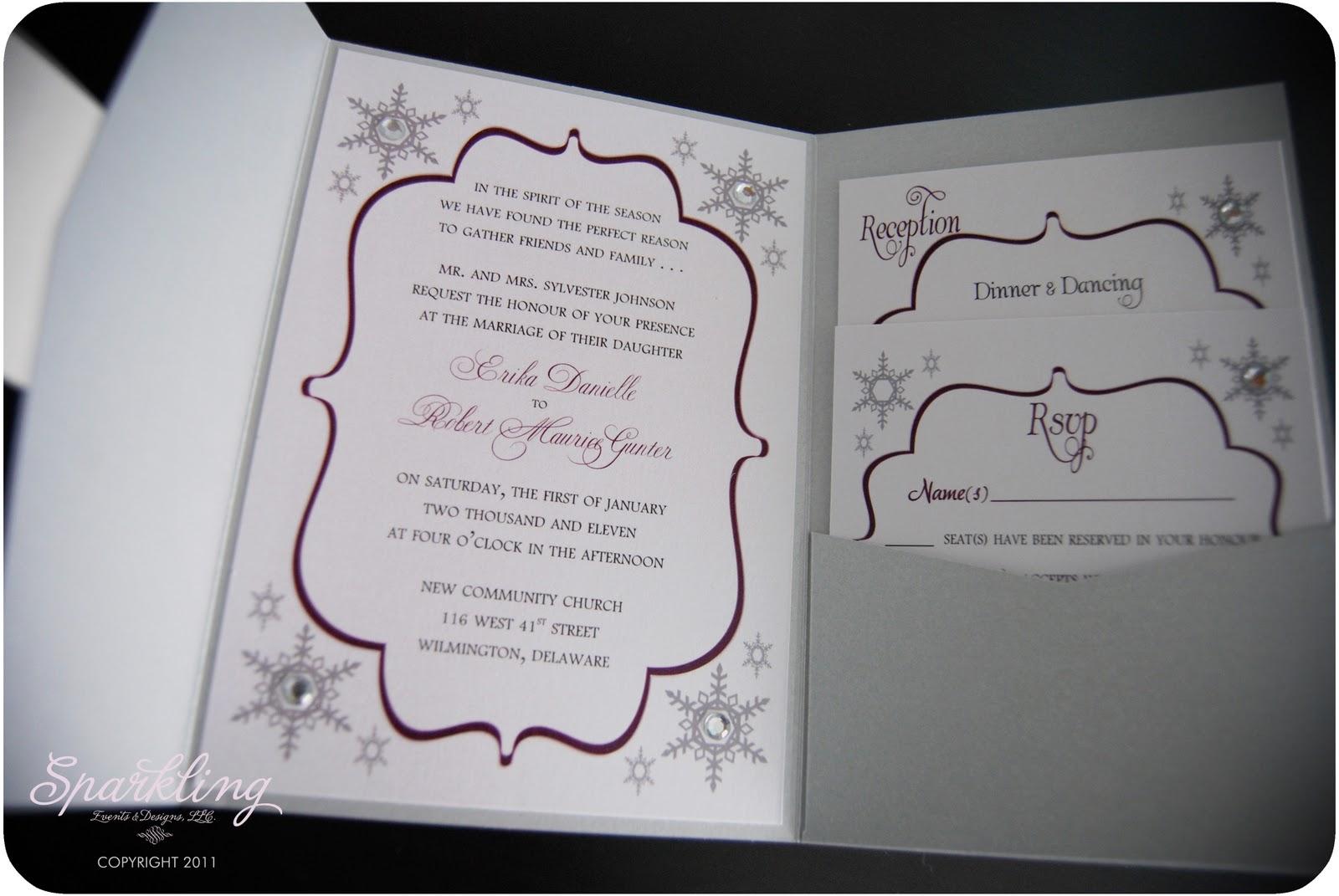 Sparkling Events Amp Designs Real Invitations Winter Wonderland Snowflake Wedding Invitation