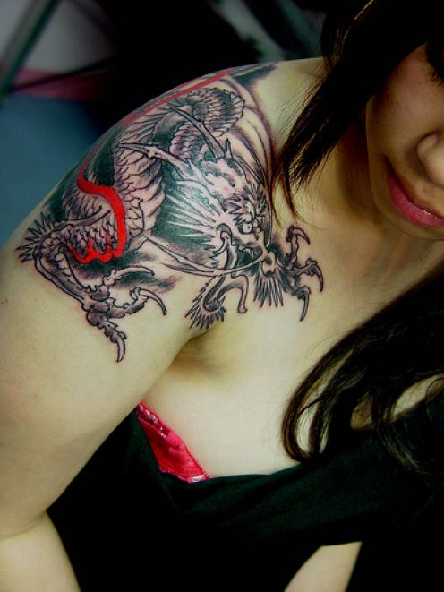 Dragon Tattoo Half Sleeve. Suicide Girl with Half Sleeve