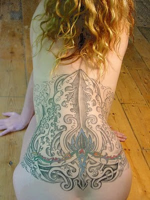Tribal Tattoo in Sexy Girl Body Back
