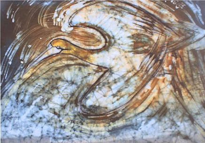 zorica, đuranić, art, paintings, canvas, batik, bird, fauna
