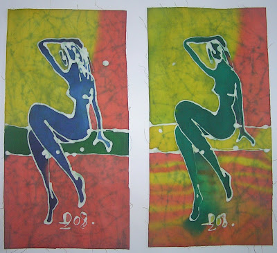 zorica, đuranić, batik, ca+nvas, art, act, paintings, green, blue
