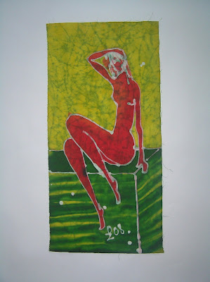 zorica, đuranić, duranic, batik, canvas, paintings, gallery, art, act, red woman, red naked woman
