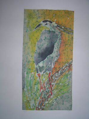zorica, đuranić, batik, duranic, canvas, art, paintings, gallery, fauna, birds, swamp birds, black heron