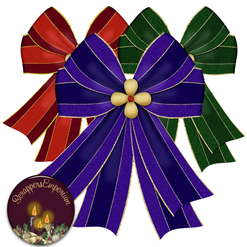A se of three beautiful Christmas Bows edged with gold for you.