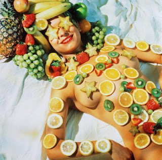 Sunbathing naked covered with fruit is why youre thin!