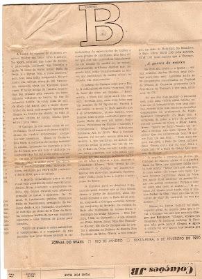 matéria de autoria de Genison Augusto, intitulada O MAIOR SÃO DOIS, publicada no JORNAL DO BRASIL de 06 de fevereiro de 1970, sexta-feira, véspera do carnaval