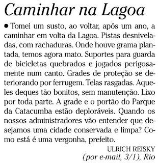 carta publicada no jornal O GLOBO de 05 de janeiro de 2010