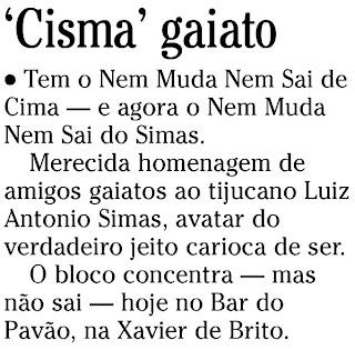 nota publicada na coluna NO EMBALO, de Cesar Tartagli, do jornal O GLOBO, 06 de fevereiro de 2010