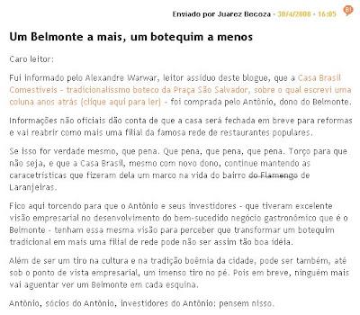 publicado por Juarez Becoza no blog PÉ-SUJO, do jornal O GLOBO