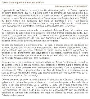 matéria publicada no site do Tribunal de Justiça do Estado do Rio de Janeiro em 22 de outubro de 2009