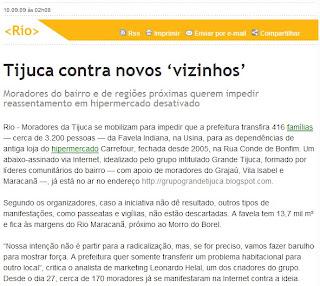 publicado no portal do jornal O DIA de 10 de setembro de 2009