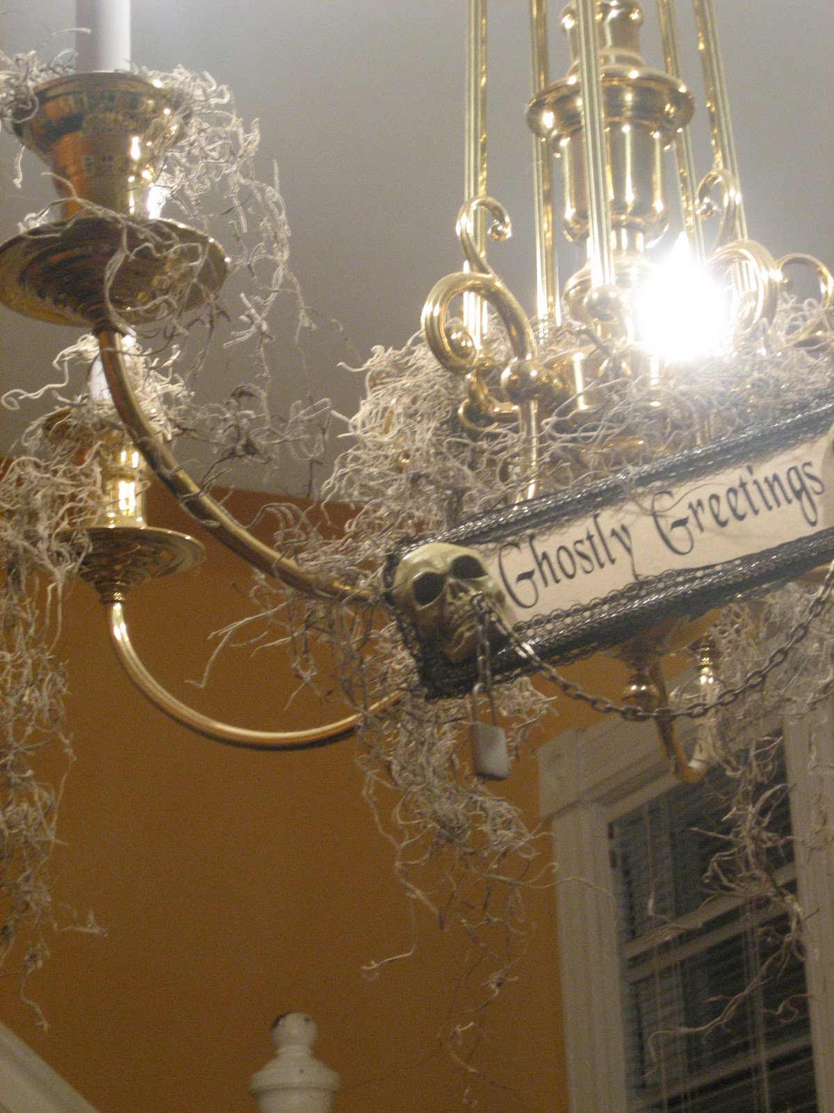 Le beau paon victorien spooky chandelierd more i saw at michaels about a month ago and i had to have it it looks great hanging on the chandelier along with spanish moss that i draped all over it mozeypictures Gallery