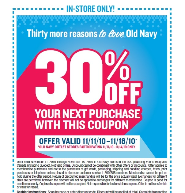 Old navy coupon in store 2018