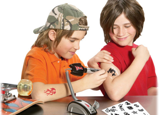 "The GR8 TaT2 Maker by Spin Master Toys promises an ""easy-to-use tattoo maker"