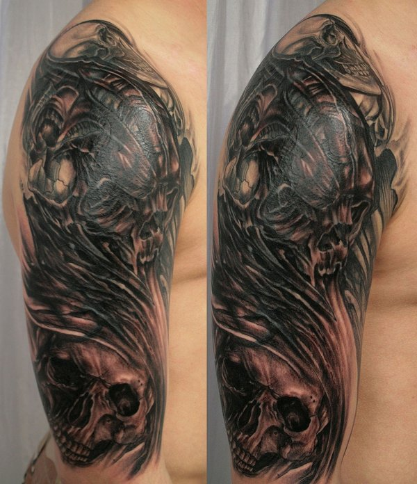 frequently skull tattoos are seen as dark and threatening tattoo
