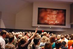 image of megachurch worship service