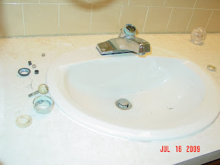 bathroom sink in exploded view