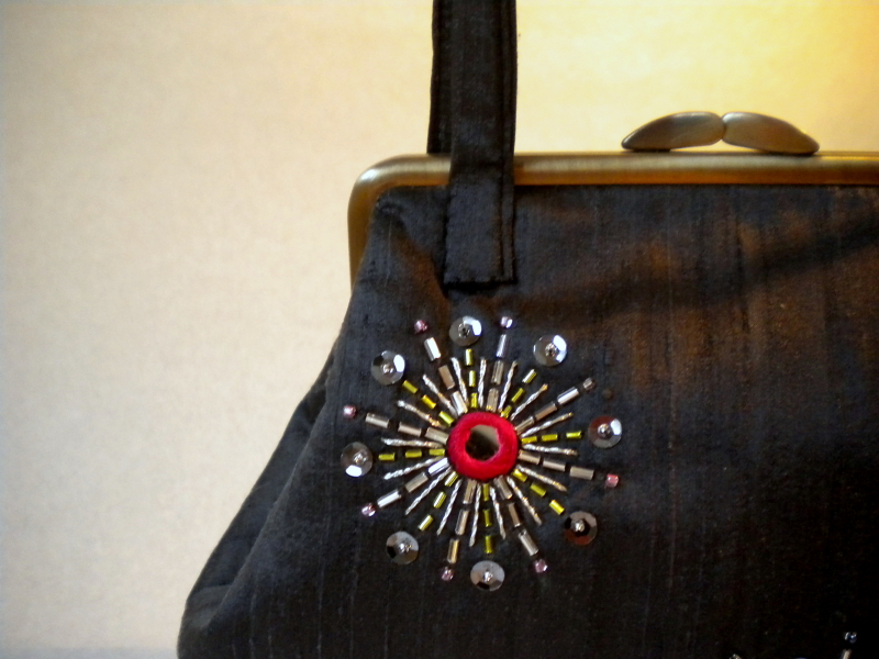 Harujion Design Mirror Work Hand Bag Fire Works In The