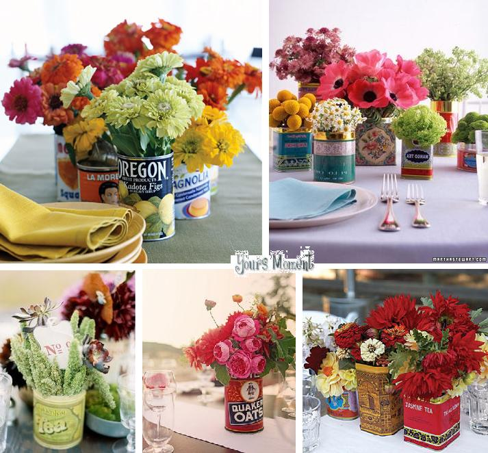 Bottom All three vintageinspired tin centerpieces courtesy of Ritzy Bee